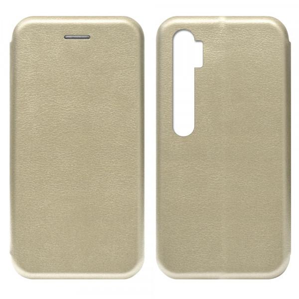 Xiaomi Mi Note 10 Чехол-книжка с силиконовой вставкой + магнит, золото