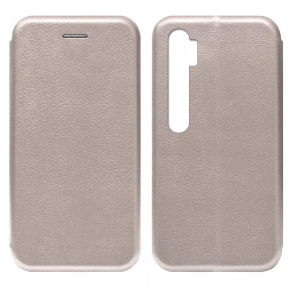 Xiaomi Mi Note 10 Чехол-книжка с силиконовой вставкой + магнит, розовое золото