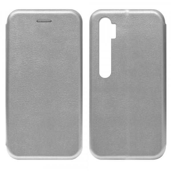 Xiaomi Redmi Note 10 Чехол-книжка с силиконовой вставкой + магнит, серебро