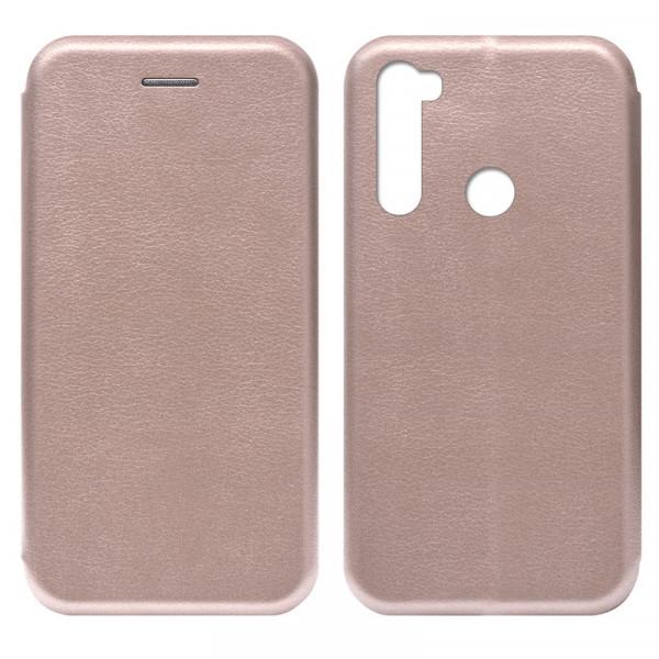 Xiaomi Redmi Note 8T Чехол-книжка с силиконовой вставкой + магнит, розовое золото