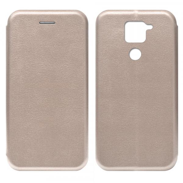 Xiaomi Redmi Note 9 Чехол-книжка с силиконовой вставкой + магнит, розовое золото