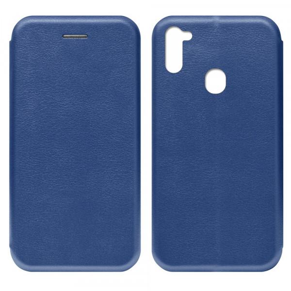 Samsung A11 Чехол-книжка с силиконовой вставкой + магнит, синий