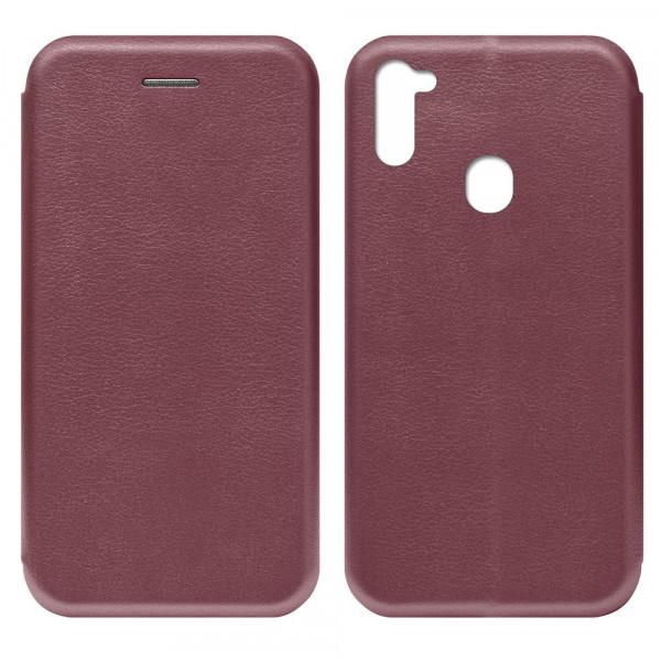 Samsung A11 Чехол-книжка с силиконовой вставкой + магнит, бордовый