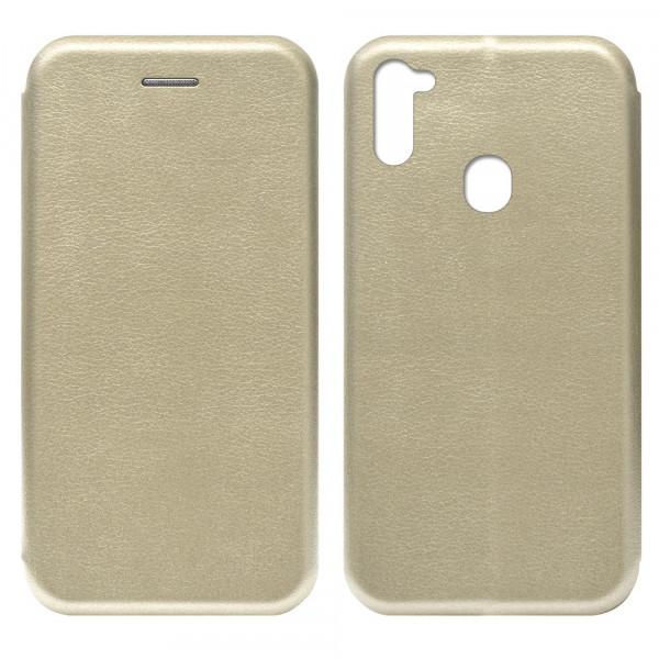 Samsung A11 Чехол-книжка с силиконовой вставкой + магнит, золото