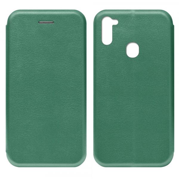 Samsung A11 Чехол-книжка с силиконовой вставкой + магнит, тёмно-зелёный