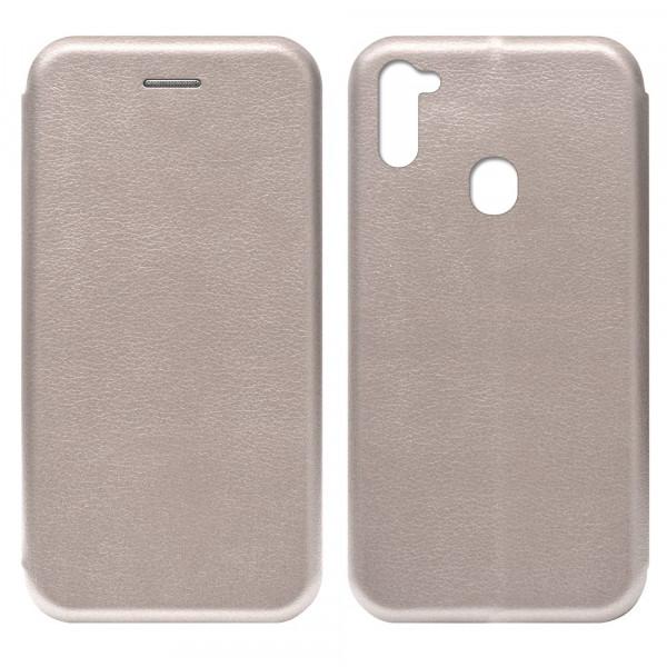 Samsung A11 Чехол-книжка с силиконовой вставкой + магнит, розовое золото