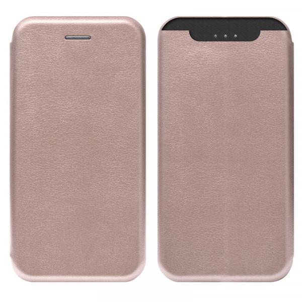 Samsung A80 Чехол-книжка с силиконовой вставкой + магнит, розовое золото