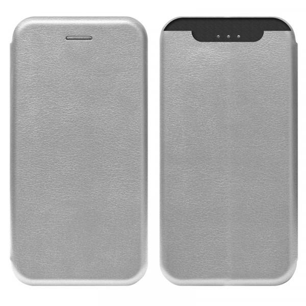 Samsung A80 Чехол-книжка с силиконовой вставкой + магнит, серебро