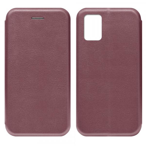 Samsung A41 Чехол-книжка с силиконовой вставкой + магнит, бордовый