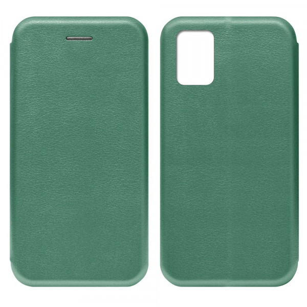 Samsung A71 Чехол-книжка с силиконовой вставкой + магнит, тёмно-зелёный