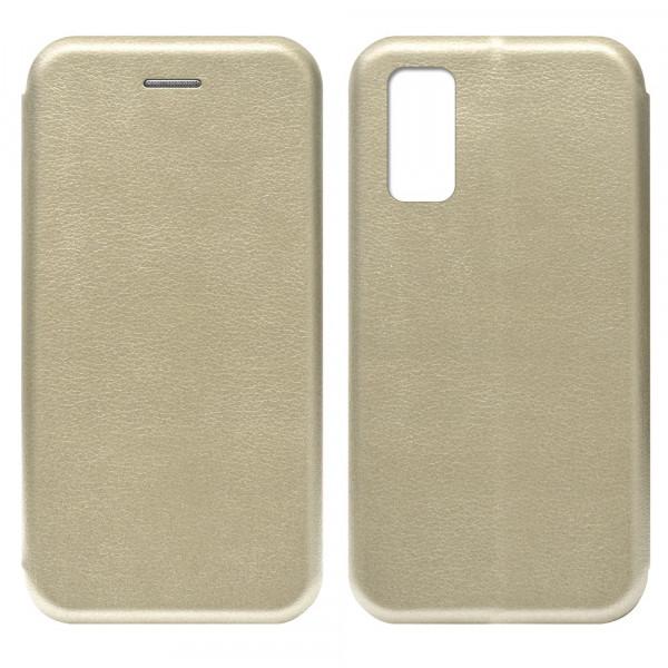 Samsung S20 FE Чехол-книжка с силиконовой вставкой + магнит, золото