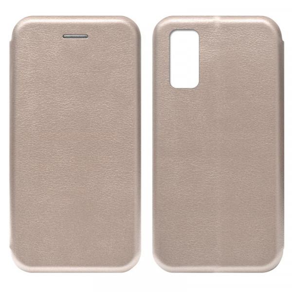 Samsung S20 FE Чехол-книжка с силиконовой вставкой + магнит, розовое золото
