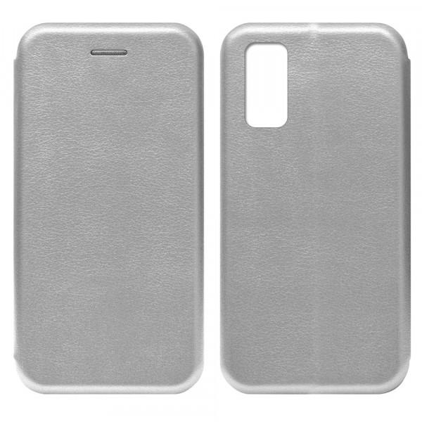 Huawei P40 Чехол-книжка с силиконовой вставкой + магнит, серебро