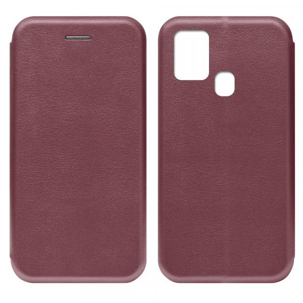 Samsung A21s Чехол-книжка с силиконовой вставкой + магнит, бордовый