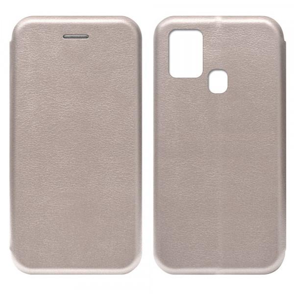 Samsung A21s Чехол-книжка с силиконовой вставкой + магнит, розовое золото