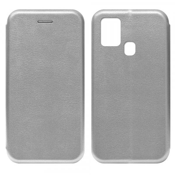 Samsung A21s Чехол-книжка с силиконовой вставкой + магнит, серебро
