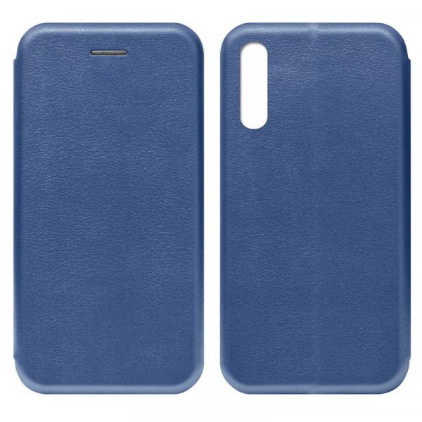 Samsung A70 Чехол-книжка с силиконовой вставкой + магнит, синий