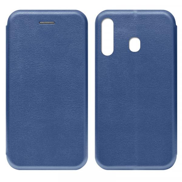 Samsung A60 Чехол-книжка с силиконовой вставкой + магнит, синий