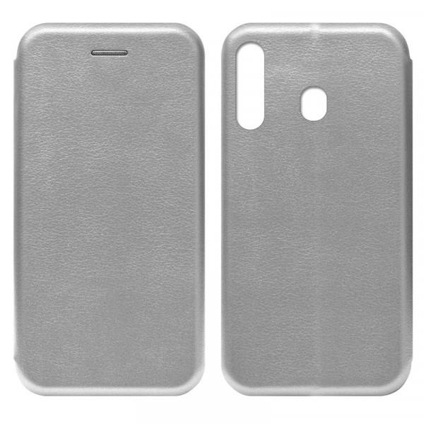 Samsung A60 Чехол-книжка с силиконовой вставкой + магнит, серебро