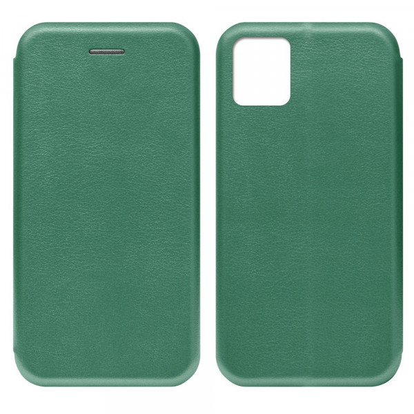 Samsung Note 10 Lite Чехол-книжка с силиконовой вставкой + магнит, тёмно-зелёный