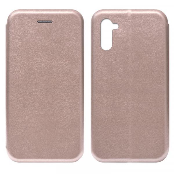 Samsung Note 10 Чехол-книжка с силиконовой вставкой + магнит CASE, розовое золото