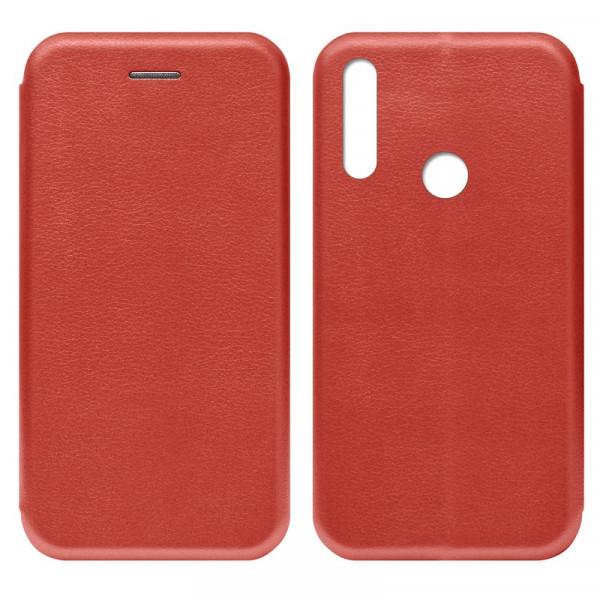 Huawei Y9 Prime (2019) Чехол-книжка с силиконовой вставкой + магнит CASE, красный