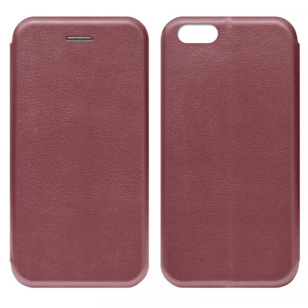 IPhone 7/8 Чехол-книжка с силиконовой вставкой + магнит, бордовый
