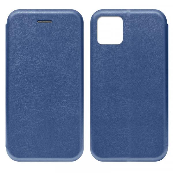 """iPhone 11 (6.1"""") Чехол-книжка с силиконовой вставкой + магнит, синий"""