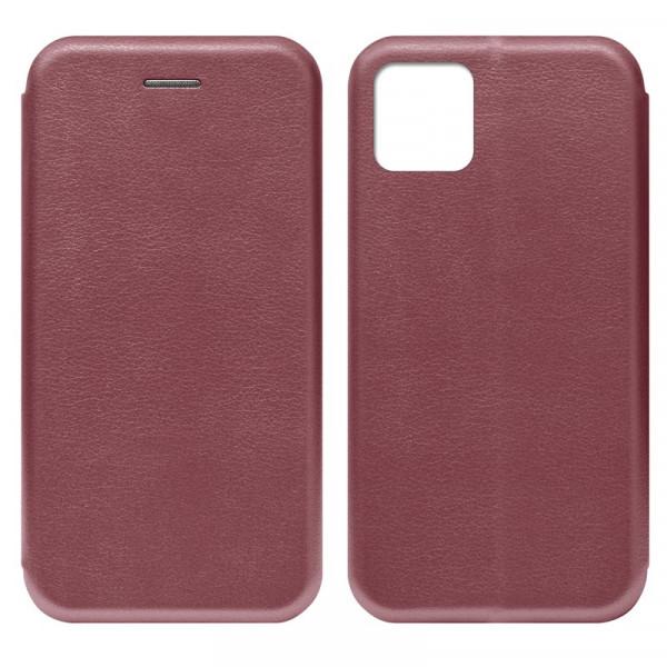 """iPhone 11 Pro Max (6.5"""") Чехол-книжка с силиконовой вставкой + магнит, бордовый"""