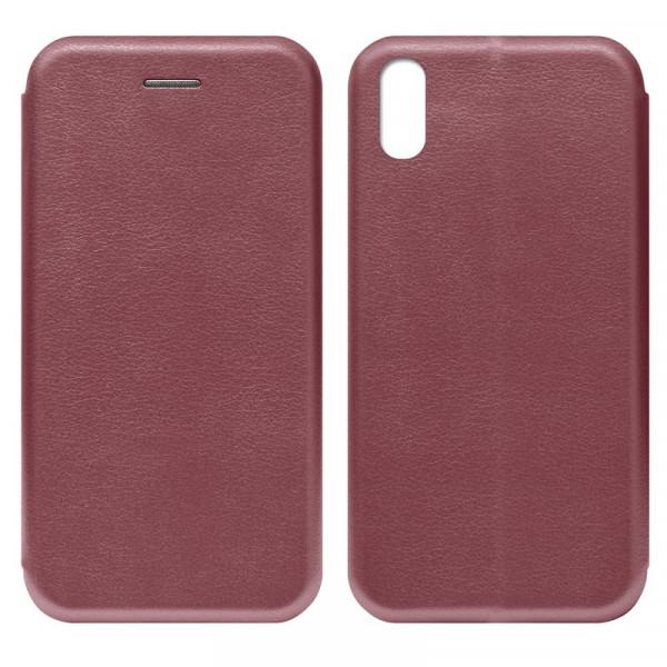 iPhone XR Чехол-книжка с силиконовой вставкой + магнит, бордовый