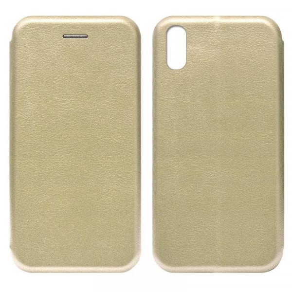 iPhone XR Чехол-книжка с силиконовой вставкой + магнит, золото