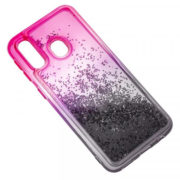 Samsung A20/A30 Бампер силиконовый переливающиеся блёстки, чёрно-розовый