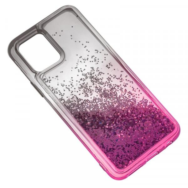 """iPhone 11 Pro (5.8"""") Бампер силиконовый переливающиеся блёстки, чёрно-розовый"""