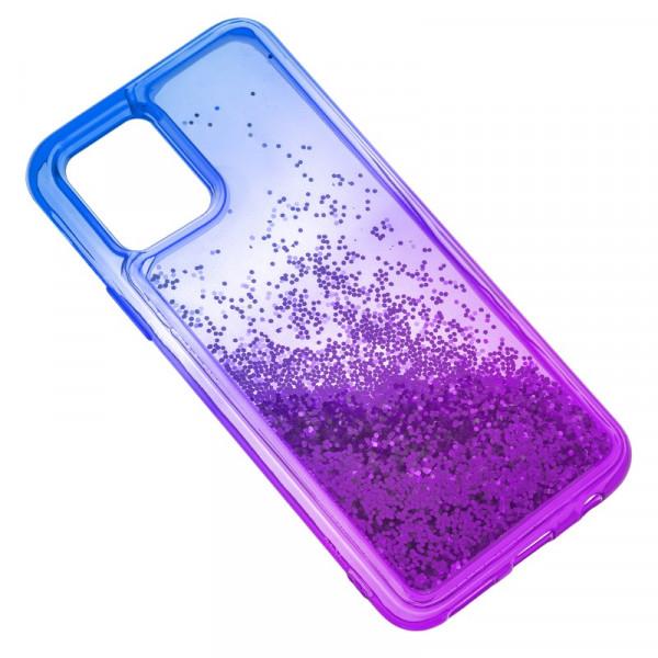 """iPhone 11 Pro Max (6.5"""") Бампер силиконовый переливающиеся блёстки, сине-фиолетовый"""