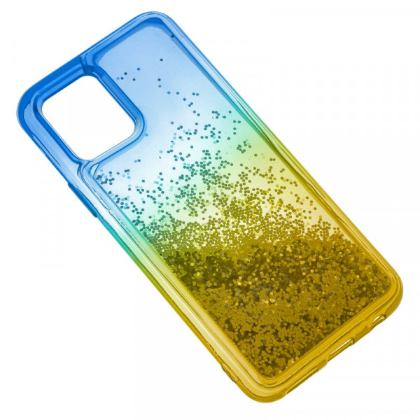 """iPhone 11 Pro (5.8"""") Бампер силиконовый переливающиеся блёстки, сине-жёлтый"""
