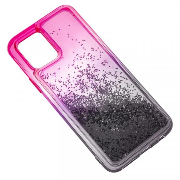 """iPhone 11 Pro Max (6.5"""") Бампер силиконовый переливающиеся блёстки, розово-чёрный"""