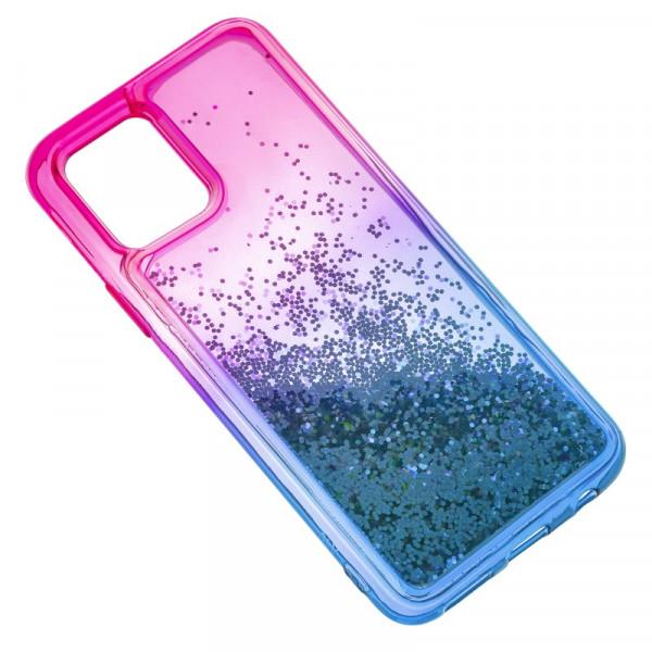 "iPhone 11 Pro (5.8"") Бампер силиконовый переливающиеся блёстки, розово-синий"