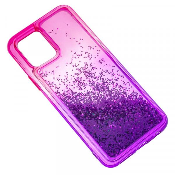"""iPhone 11 Pro Max (6.5"""") Бампер силиконовый переливающиеся блёстки, розово-фиолетовый"""