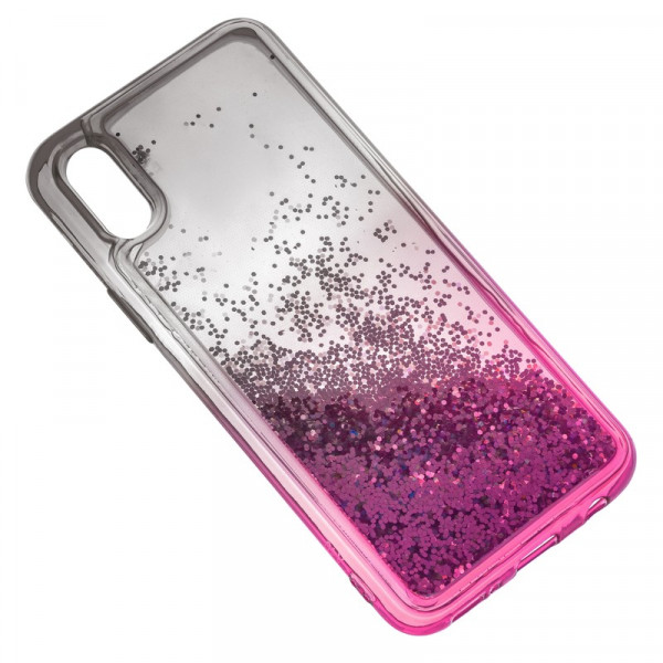 iPhone XR Бампер силиконовый переливающиеся блёстки, чёрно-розовый
