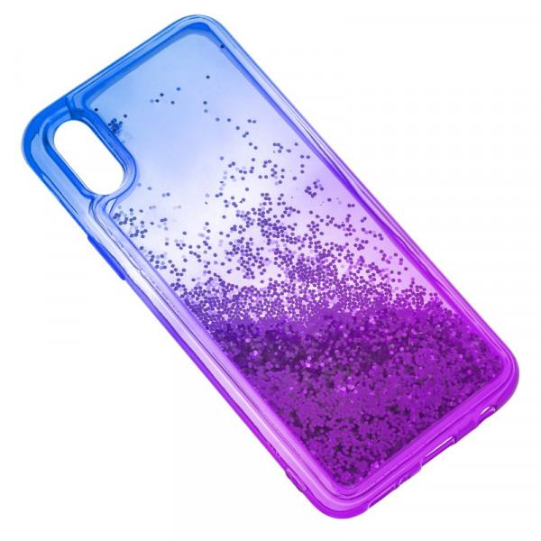 iPhone X/XS Бампер силиконовый переливающиеся блёстки, сине-фиолетовый