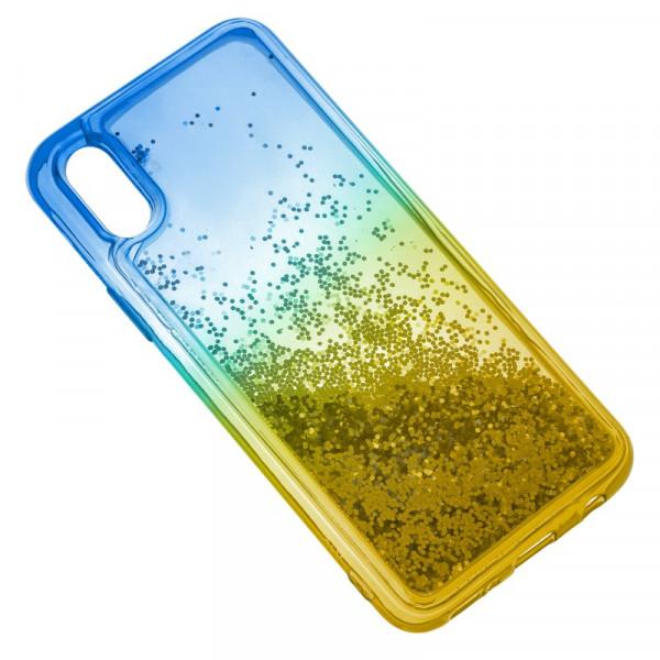 iPhone XR Бампер силиконовый переливающиеся блёстки, сине-жёлтый