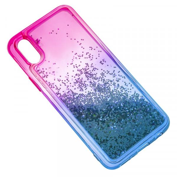 iPhone X/XS Бампер силиконовый переливающиеся блёстки, розово-синий