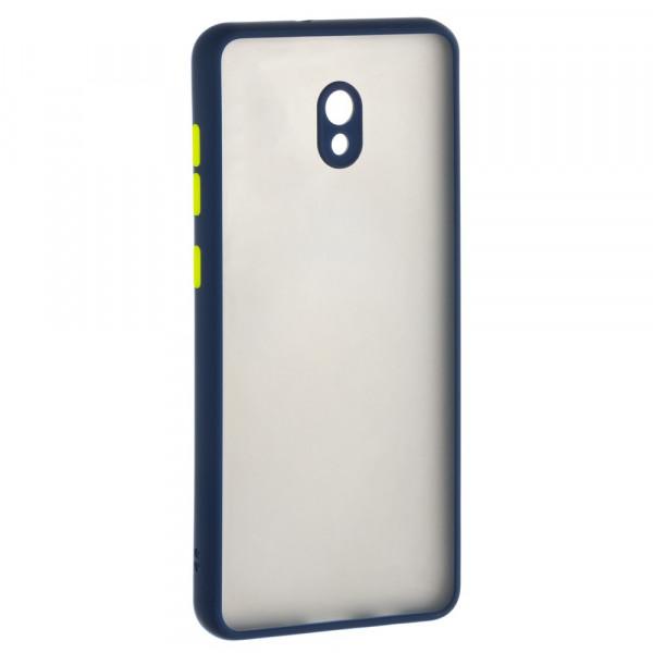Xiaomi Redmi 8A Бампер пластиковый матовый с защитой камеры, ободок синий