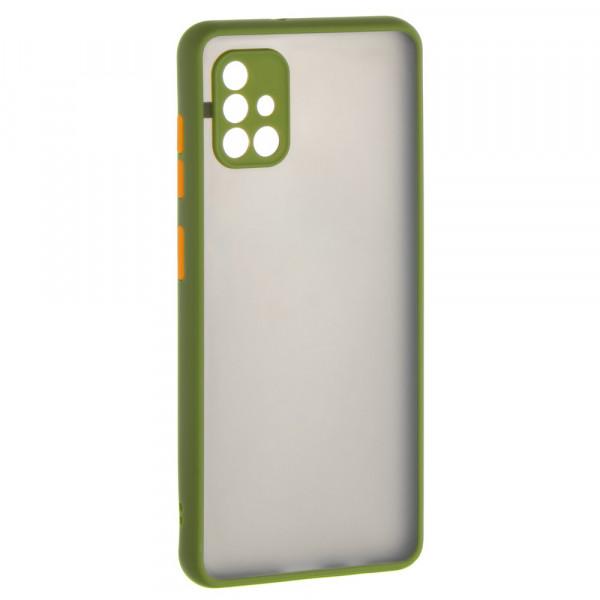 Samsung A51 Бампер пластиковый матовый с защитой камеры, ободок зелёный