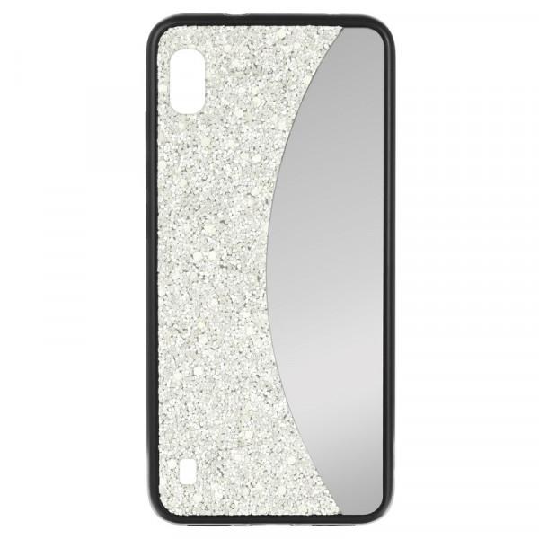 Samsung A20 Бампер силиконовый блёстки+зеркало, белый