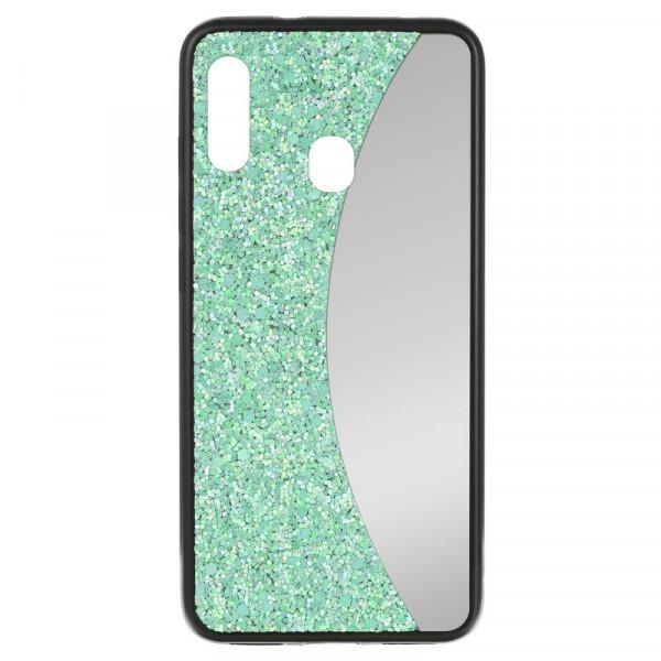 Samsung A20 Бампер силиконовый блёстки+зеркало, бирюзовый
