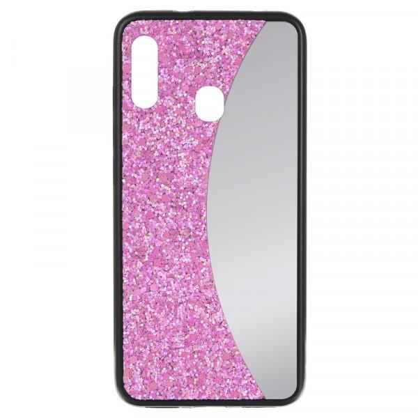 Samsung A20 Бампер силиконовый блёстки+зеркало, розовый