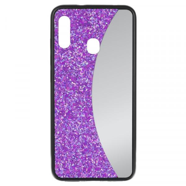 Samsung A20 Бампер силиконовый блёстки+зеркало, фиолетовый
