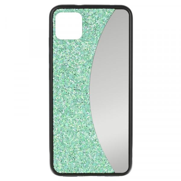 """iPhone 11 (6.1"""") Бампер силиконовый блёстки+зеркало, бирюзовый"""