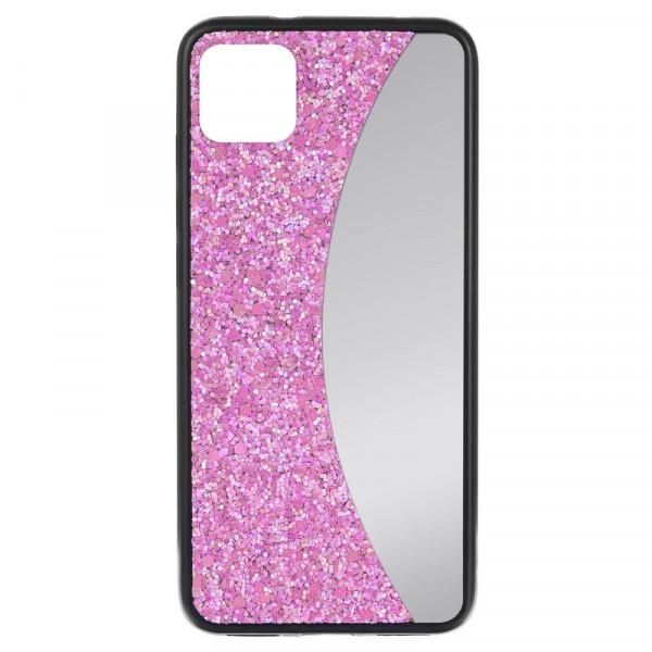 """iPhone 11 (6.1"""") Бампер силиконовый блёстки+зеркало, розовый"""